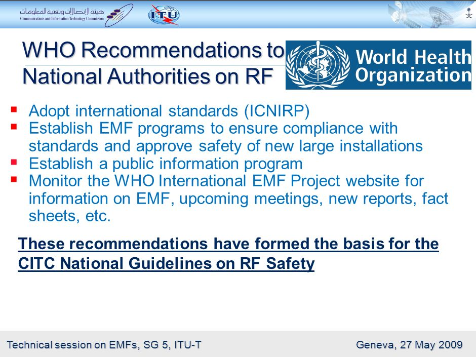 WHO Recommendations to National Authorities on RF