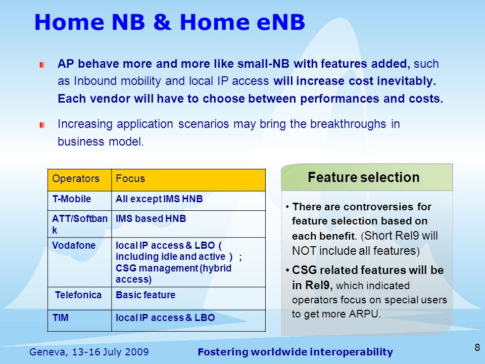 Home NB & Home eNB Feature selection