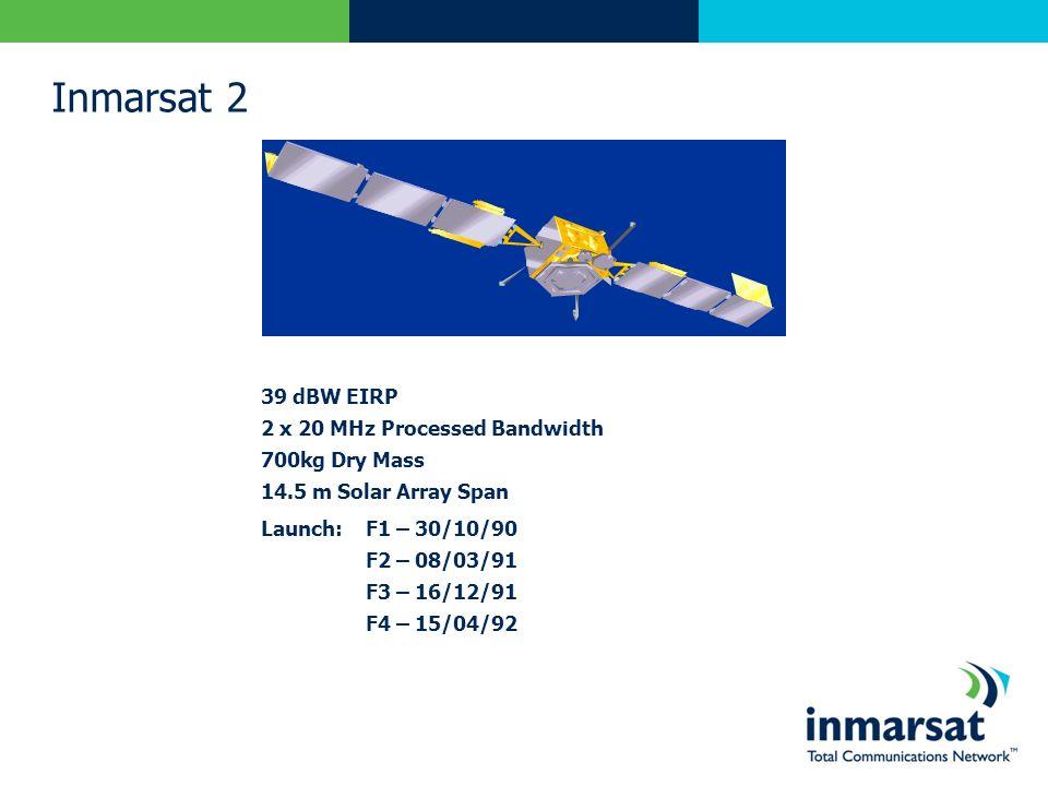 Inmarsat 2 39 dBW EIRP 2 x 20 MHz Processed Bandwidth 700kg Dry Mass