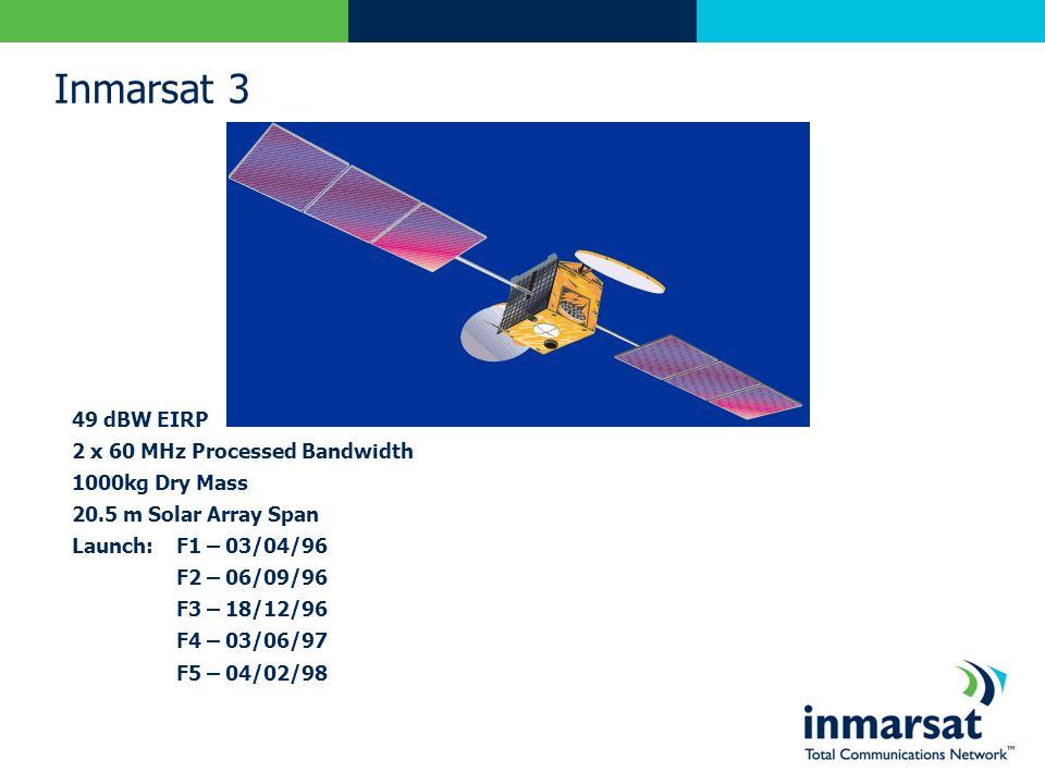 Inmarsat 3 49 dBW EIRP 2 x 60 MHz Processed Bandwidth 1000kg Dry Mass