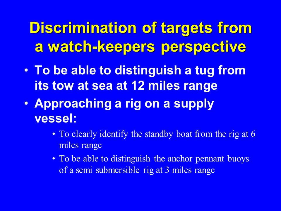 Discrimination of targets from a watch-keepers perspective
