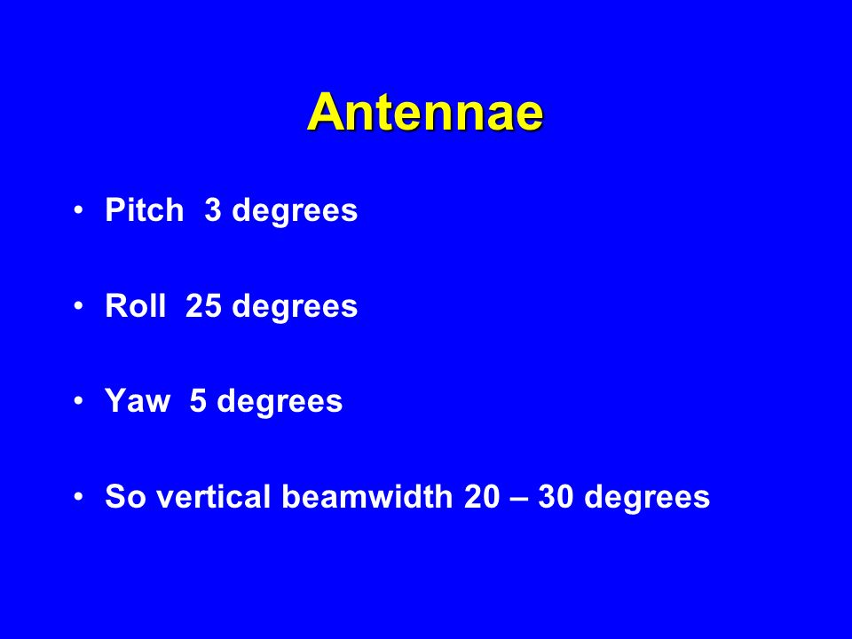 Antennae Pitch 3 degrees Roll 25 degrees Yaw 5 degrees