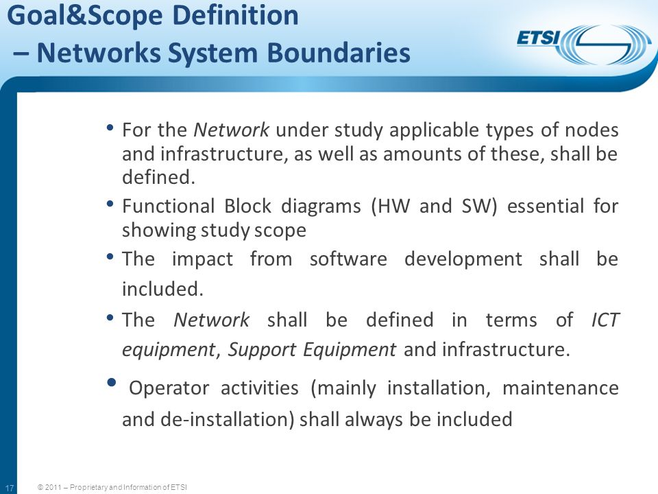 Goal&Scope Definition – Networks System Boundaries