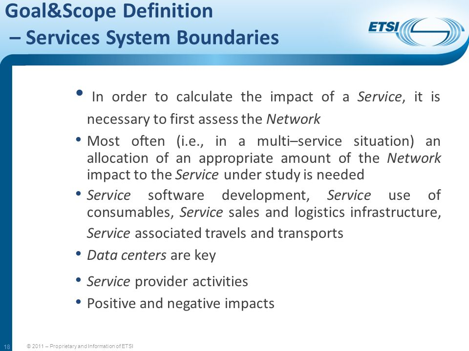 Goal&Scope Definition – Services System Boundaries
