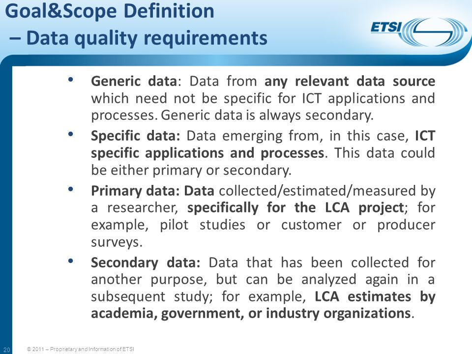 Goal&Scope Definition – Data quality requirements