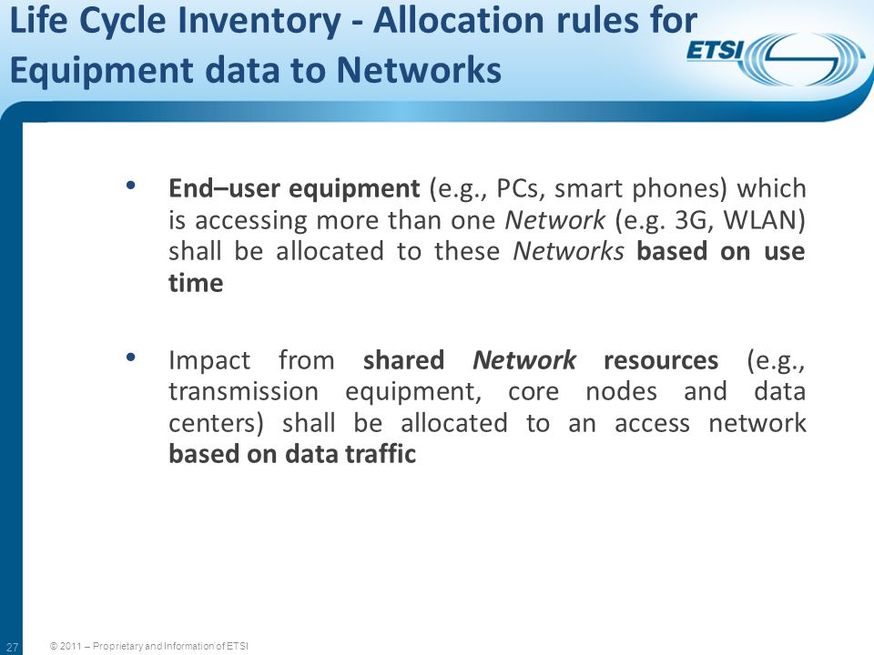 Life Cycle Inventory - Allocation rules for Equipment data to Networks