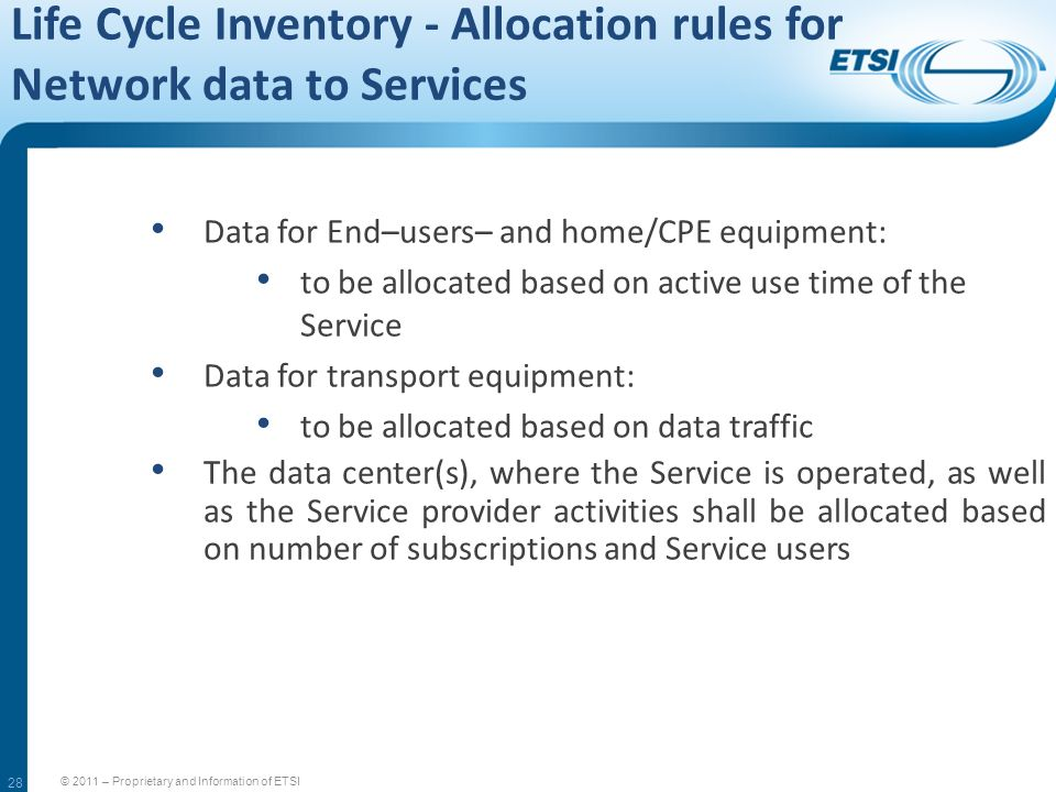 Life Cycle Inventory - Allocation rules for Network data to Services