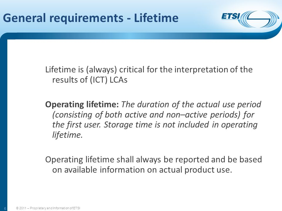 General requirements - Lifetime