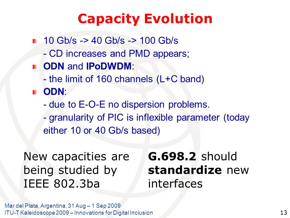 Capacity Evolution New capacities are being studied by IEEE 802.3ba