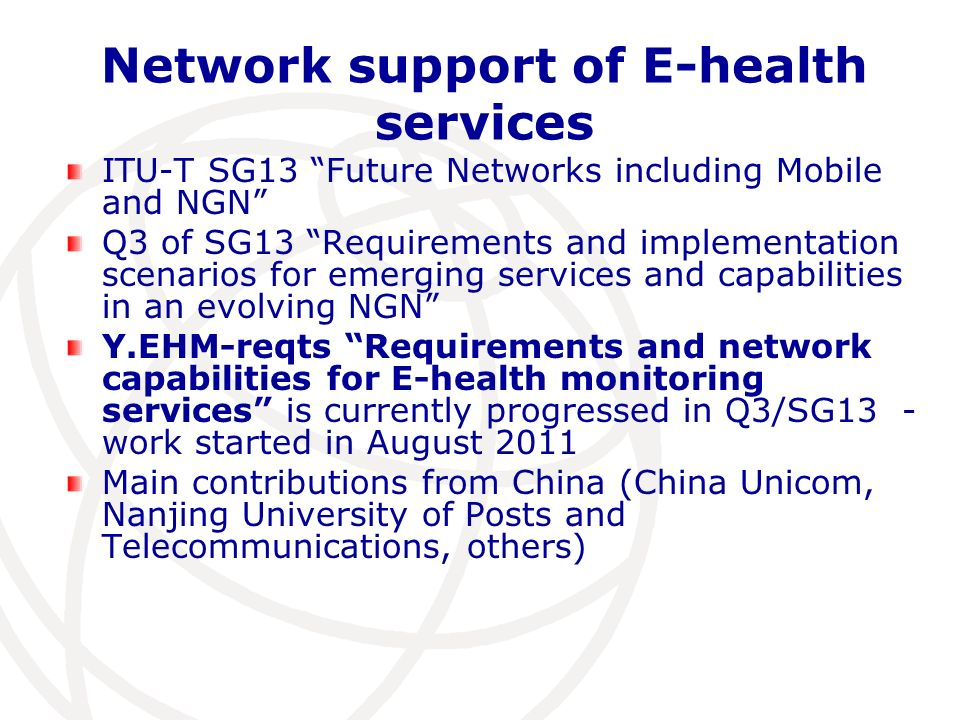 Network support of E-health services