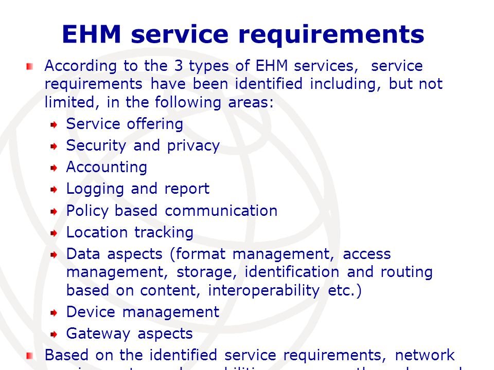 EHM service requirements