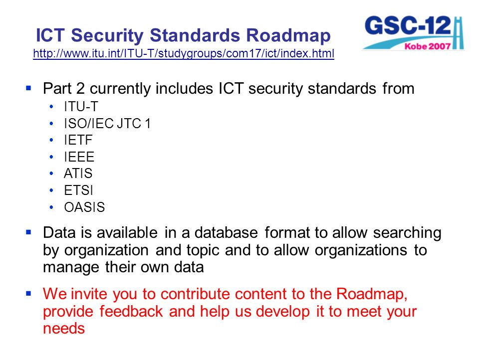 ICT Security Standards Roadmap http://www. itu