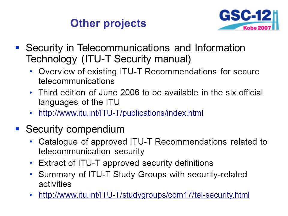 Other projects Security in Telecommunications and Information Technology (ITU-T Security manual)