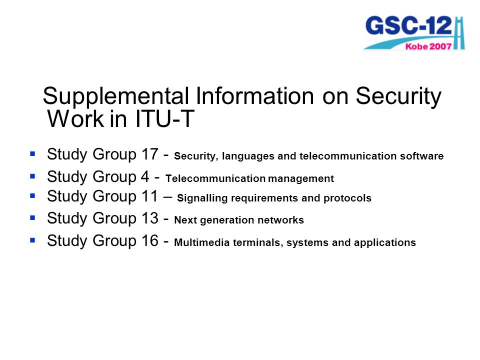 Supplemental Information on Security Work in ITU-T
