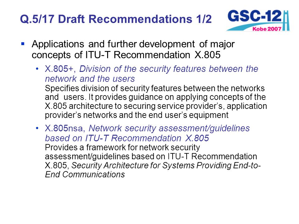 Q.5/17 Draft Recommendations 1/2
