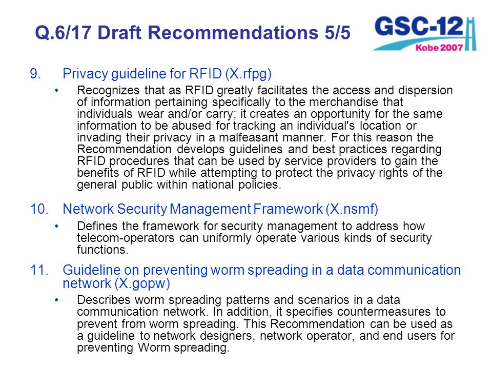 Q.6/17 Draft Recommendations 5/5