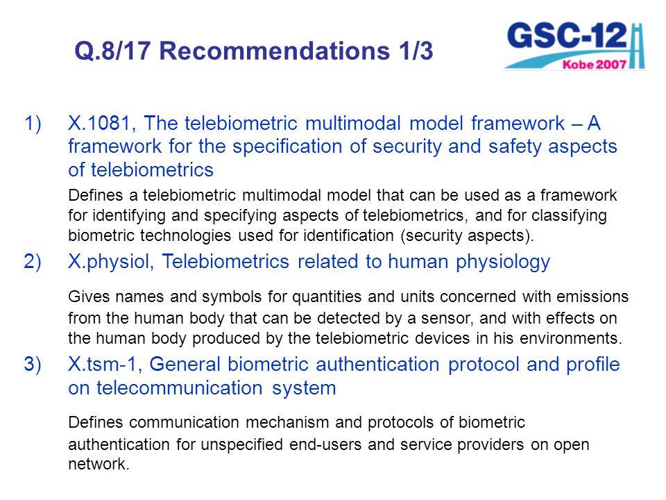 Q.8/17 Recommendations 1/3