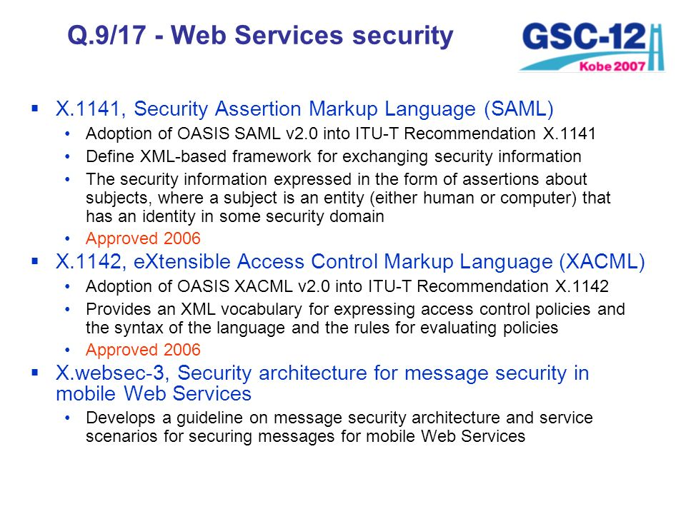 Q.9/17 - Web Services security