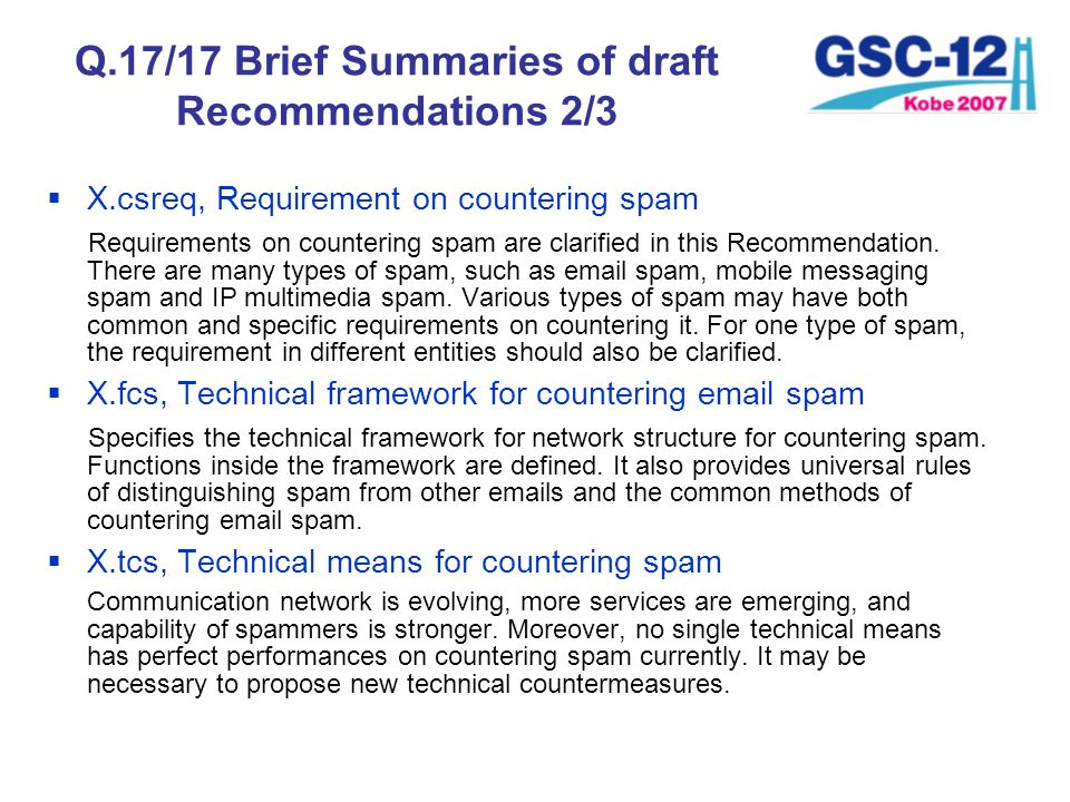 Q.17/17 Brief Summaries of draft Recommendations 2/3