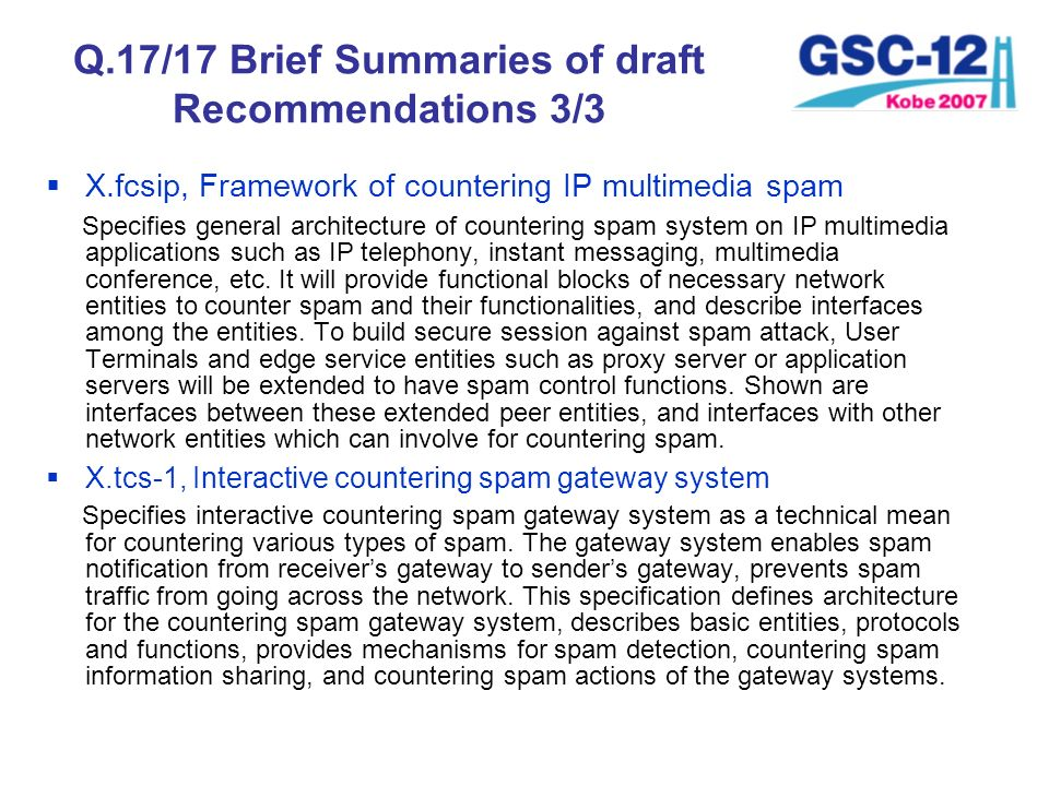Q.17/17 Brief Summaries of draft Recommendations 3/3