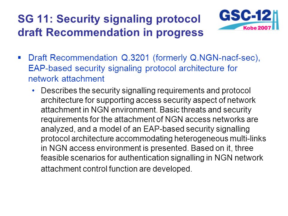 SG 11: Security signaling protocol draft Recommendation in progress