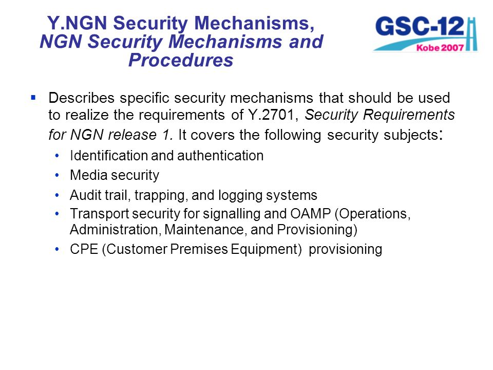 Y.NGN Security Mechanisms, NGN Security Mechanisms and Procedures