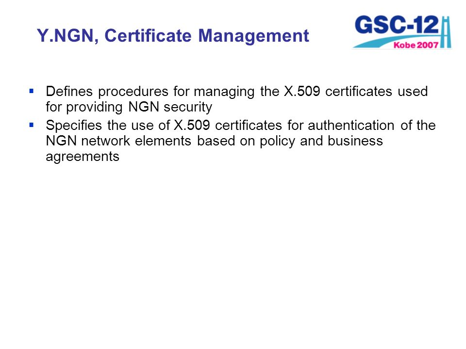 Y.NGN, Certificate Management