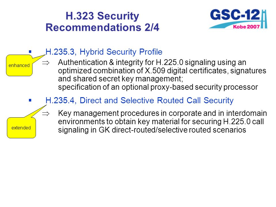 H.323 Security Recommendations 2/4