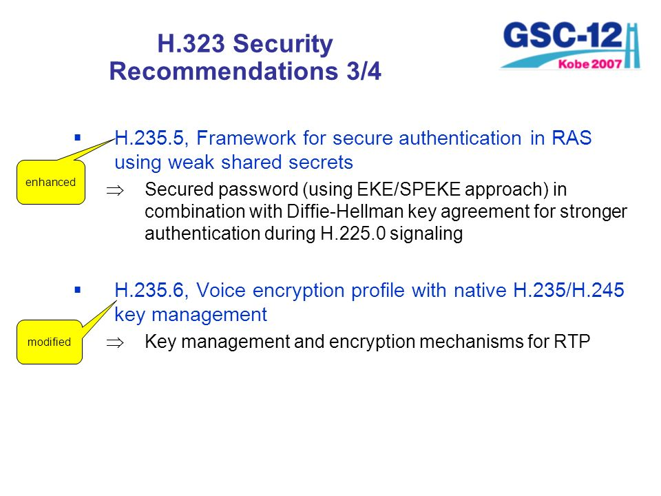 H.323 Security Recommendations 3/4