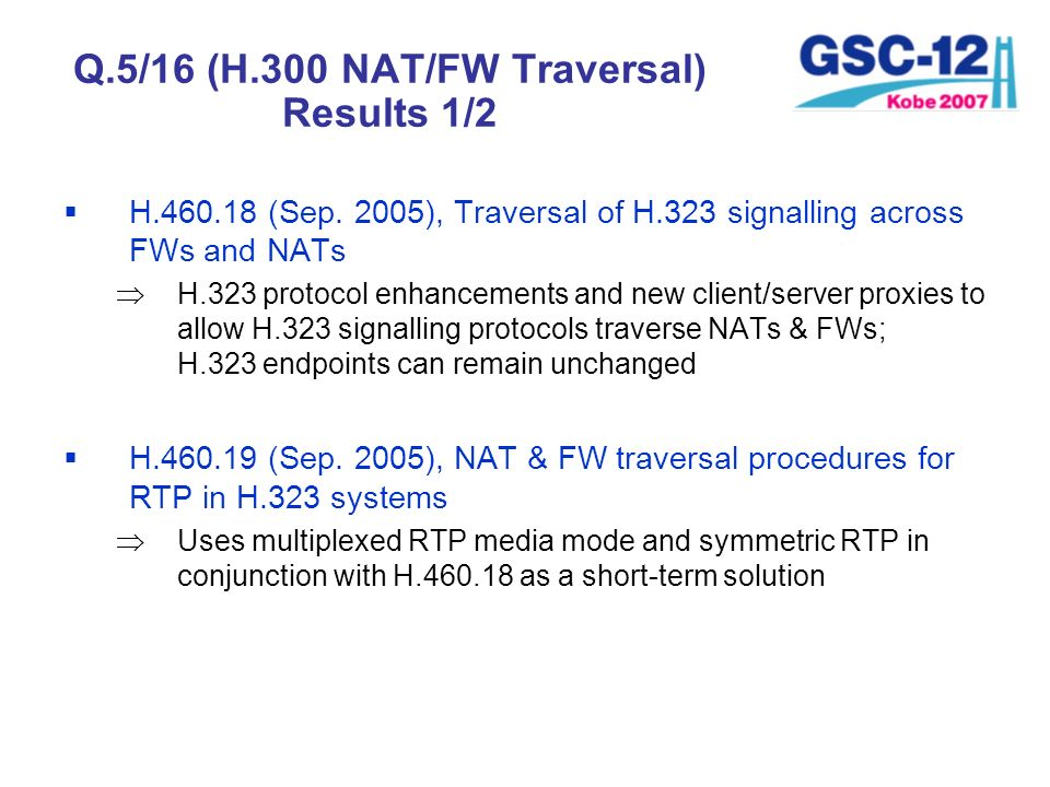Q.5/16 (H.300 NAT/FW Traversal) Results 1/2