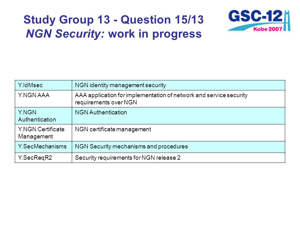 Study Group 13 - Question 15/13 NGN Security: work in progress