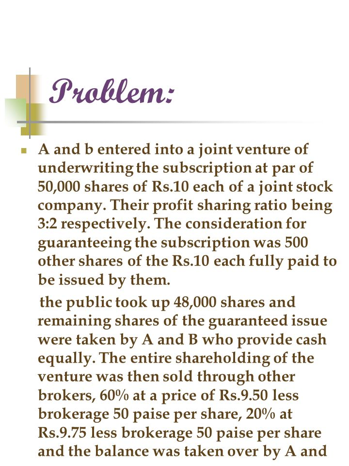 Problems of joint venture