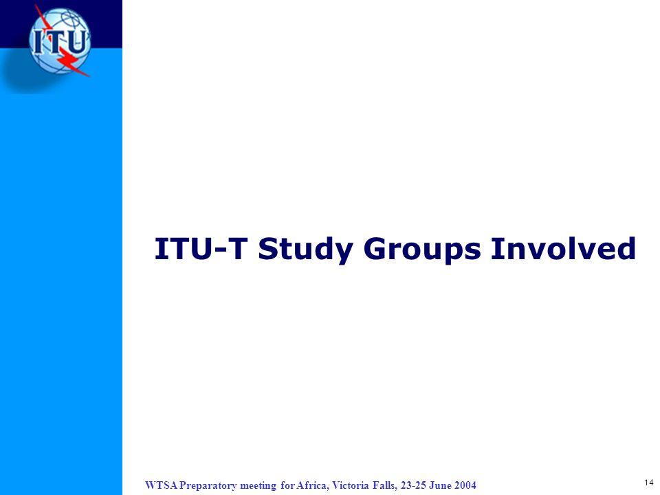 ITU-T Study Groups Involved
