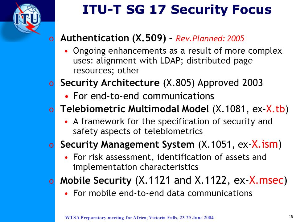 ITU-T SG 17 Security Focus