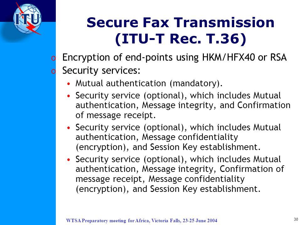 Secure Fax Transmission (ITU-T Rec. T.36)
