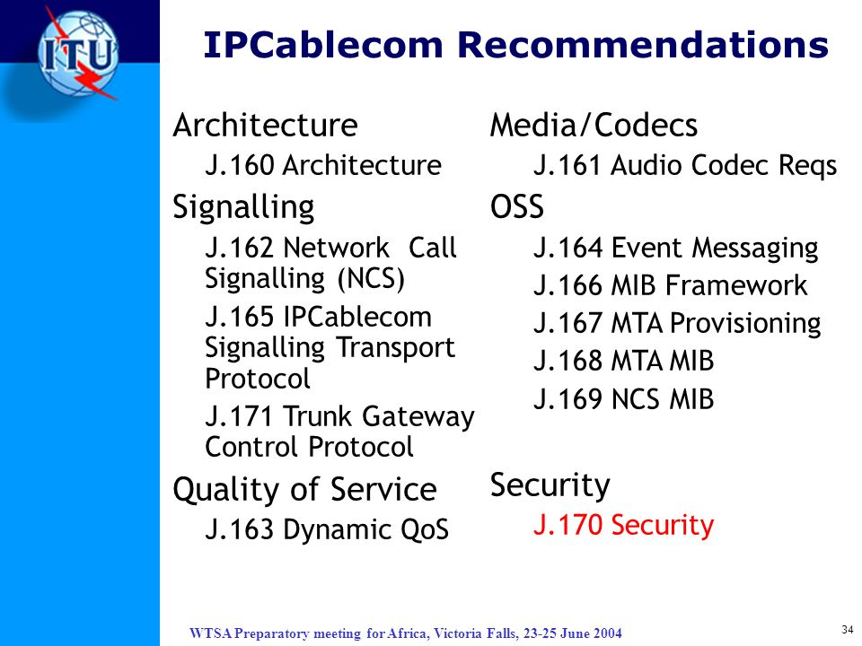 IPCablecom Recommendations