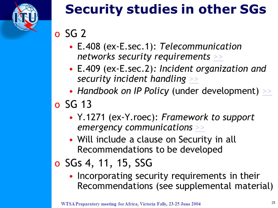 Security studies in other SGs