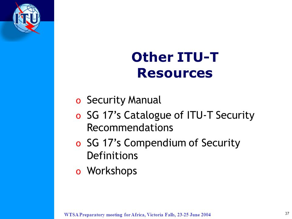 Other ITU-T Resources Security Manual