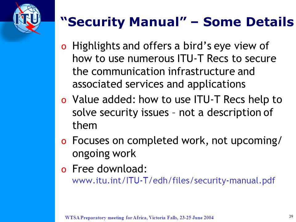 Security Manual – Some Details