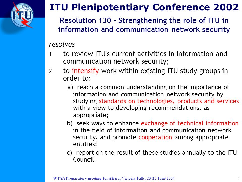 ITU Plenipotentiary Conference 2002 Resolution 130 - Strengthening the role of ITU in information and communication network security