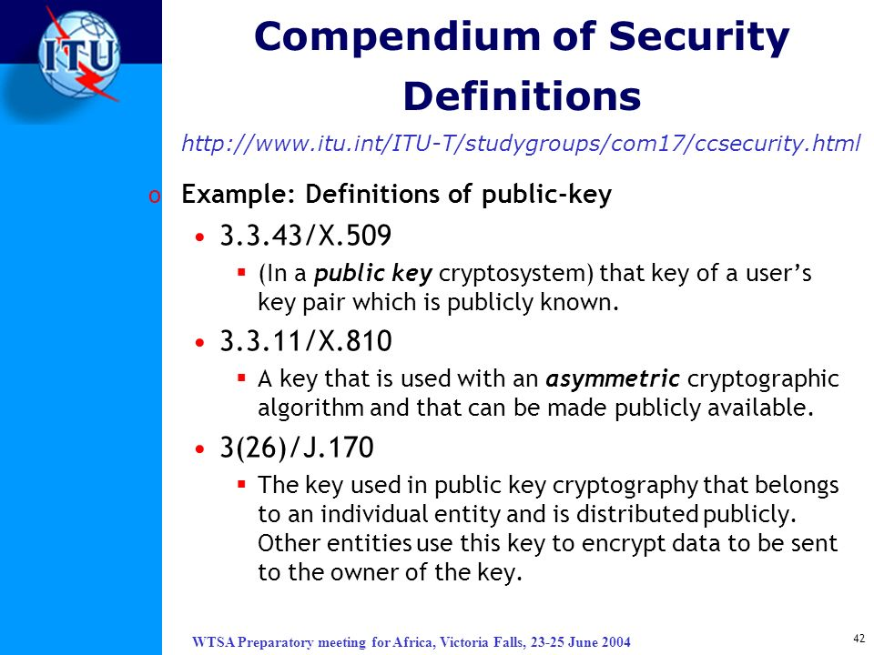 Compendium of Security Definitions http://www. itu