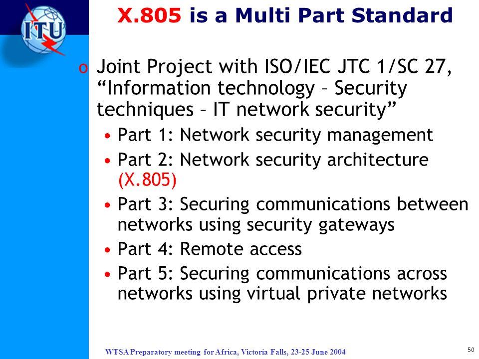 X.805 is a Multi Part Standard