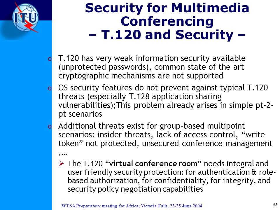 Security for Multimedia Conferencing – T.120 and Security –