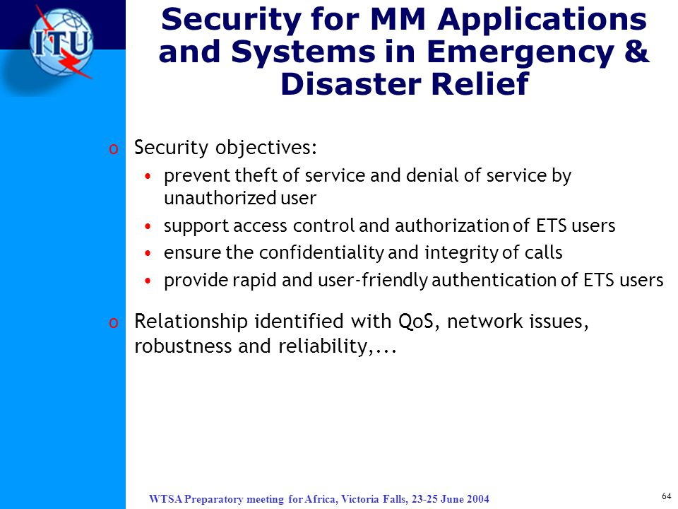 Security for MM Applications and Systems in Emergency & Disaster Relief