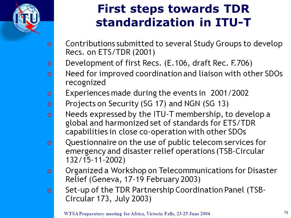 First steps towards TDR standardization in ITU-T