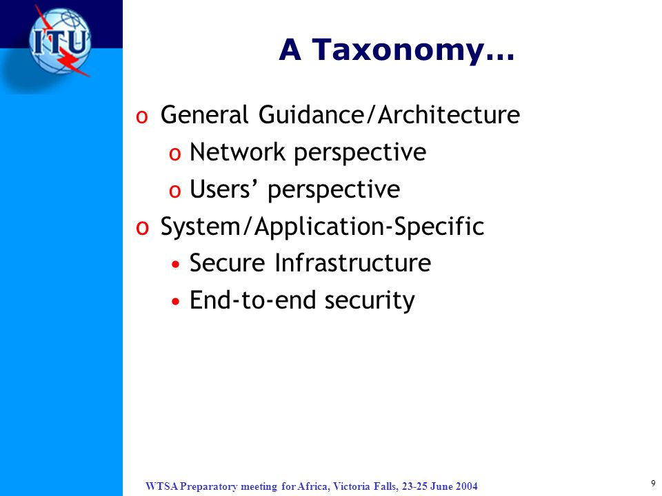 A Taxonomy… General Guidance/Architecture Network perspective