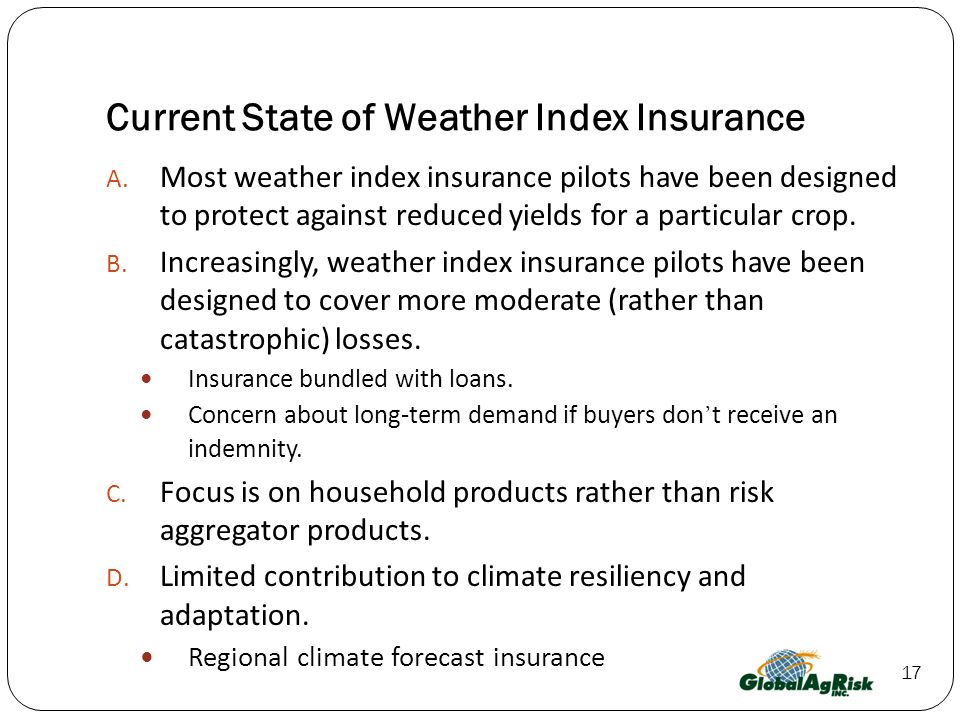 Current State of Weather Index Insurance