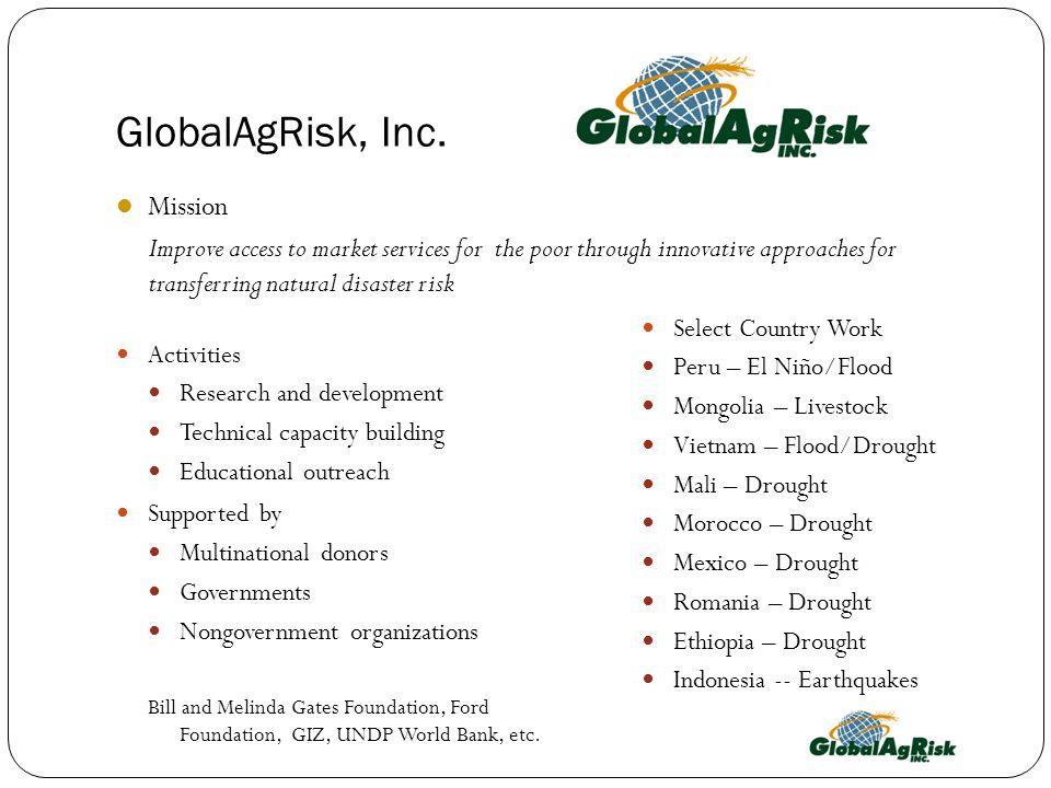 GlobalAgRisk, Inc. Mission