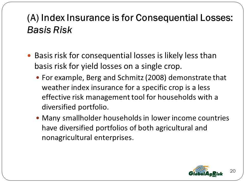 (A) Index Insurance is for Consequential Losses: Basis Risk