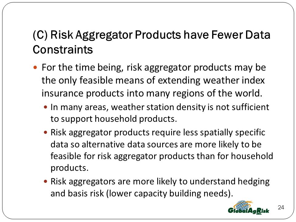 (C) Risk Aggregator Products have Fewer Data Constraints